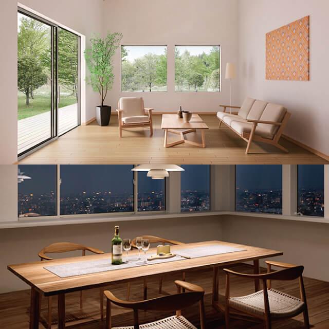 アルミと樹脂の良さを融合した「ハイブリッド窓」